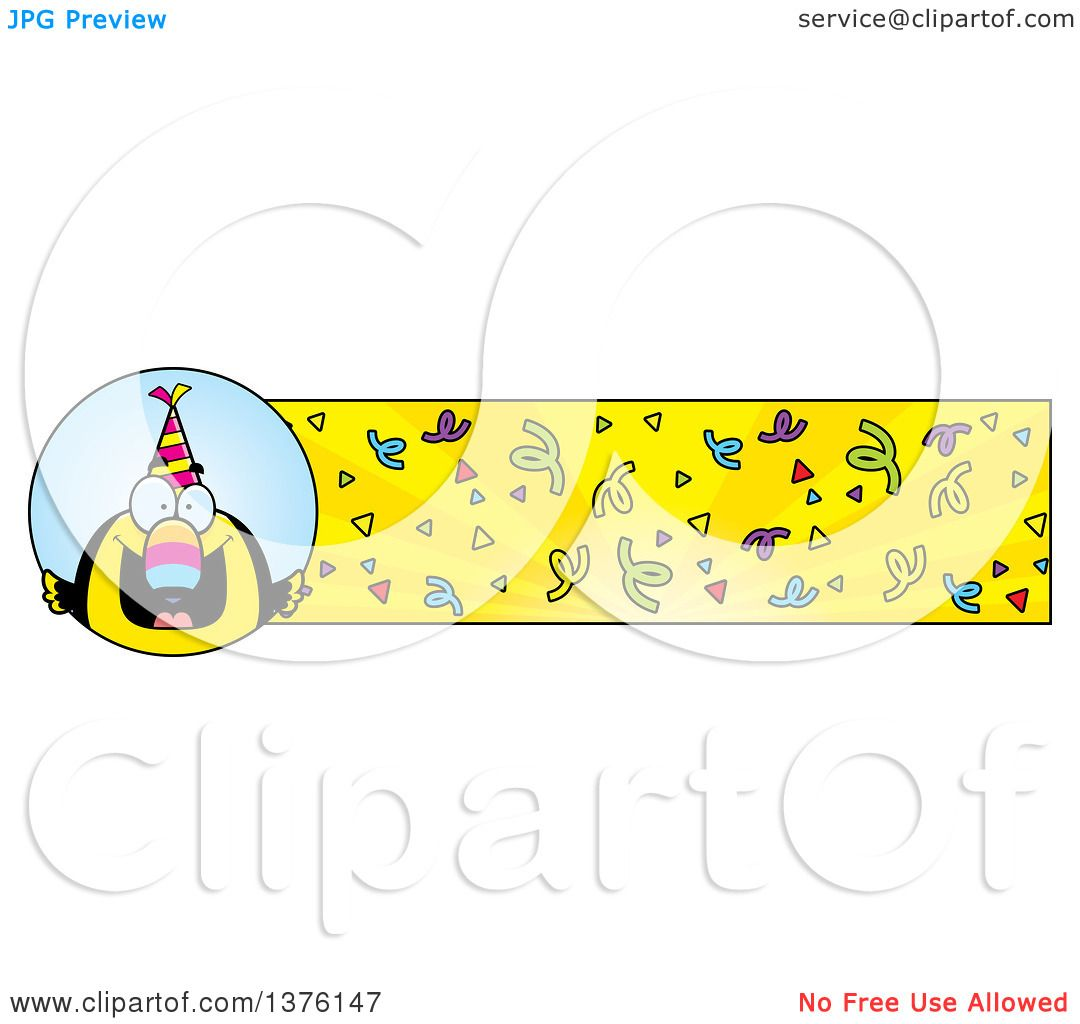 Clipart Of A Happy Birthday Toucan Wearing A Party Hat
