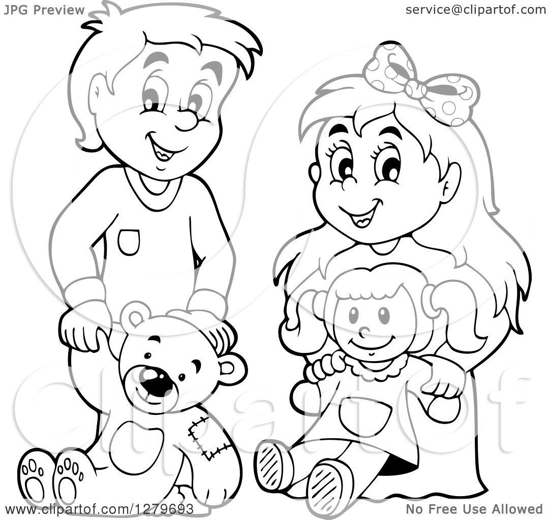 Clipart of a Happy Black and White Boy and Blond Girl ... (1080 x 1024 Pixel)