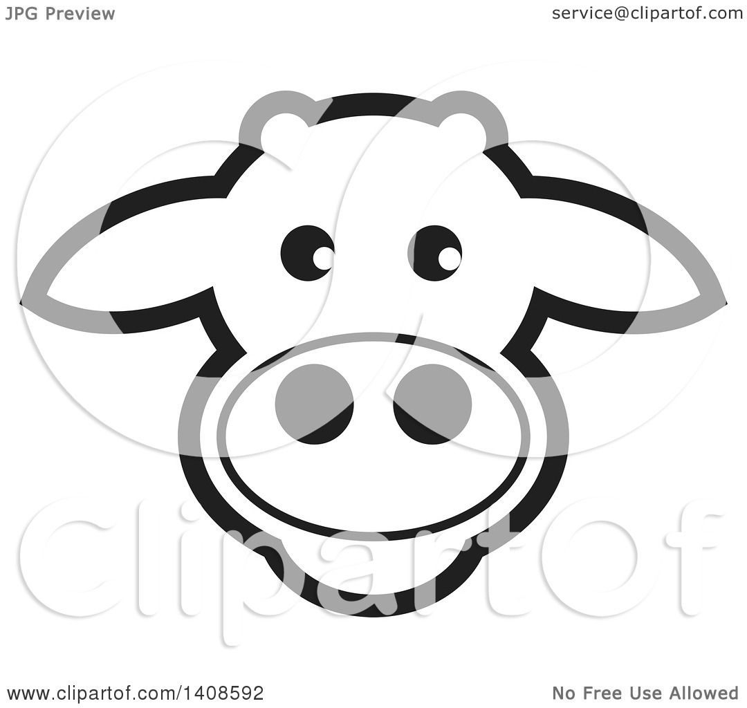 clipart of a happy black and white lineart cow face royalty free rh clipartof com  cute cow face clipart