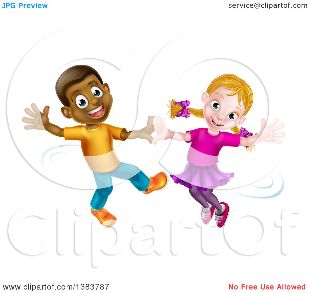 Clipart Of A Happy Black Boy And White Girl Dancing Royalty Free Vector Illustration By Atstockillustration 1383787