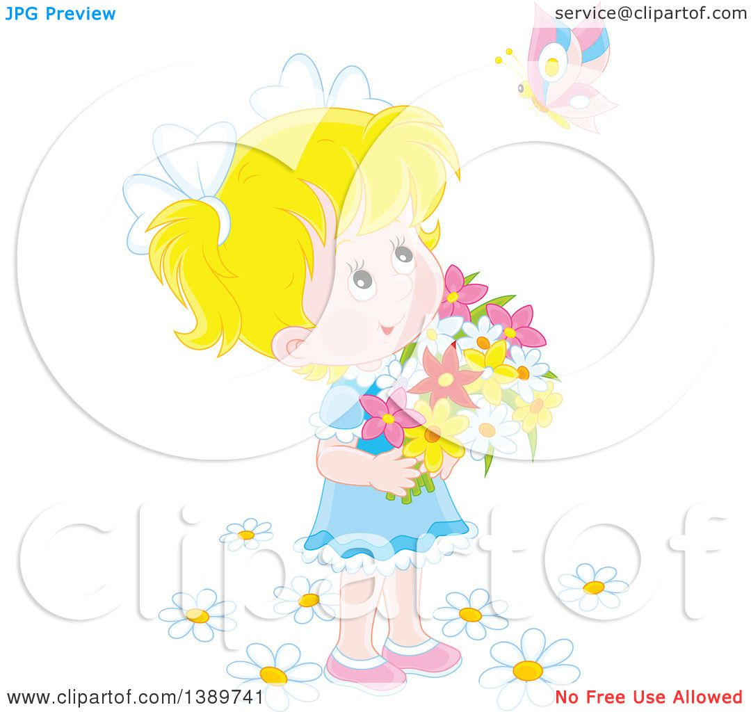 clipart girl holding flowers - photo #18