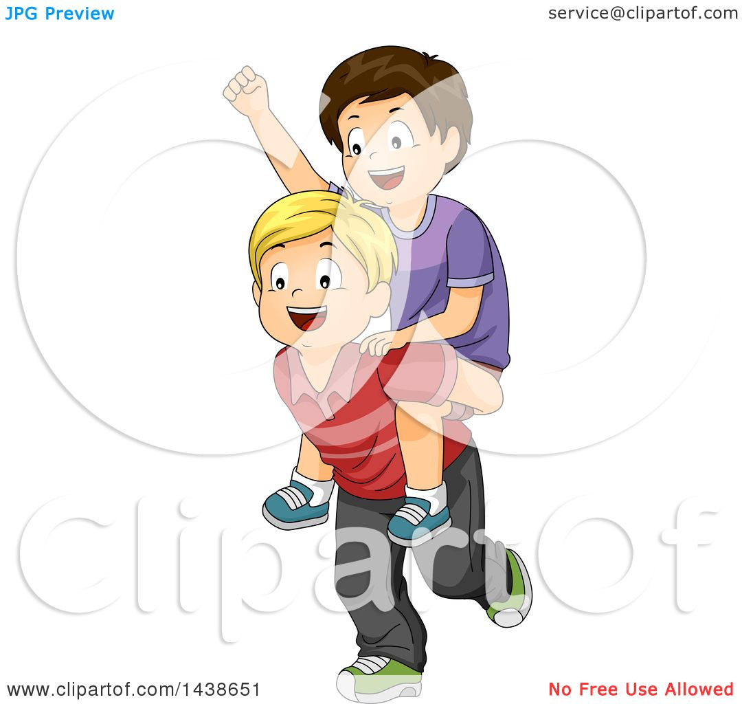 Clipart Of A Happy Blond White Boy Giving A Brunette Boy A
