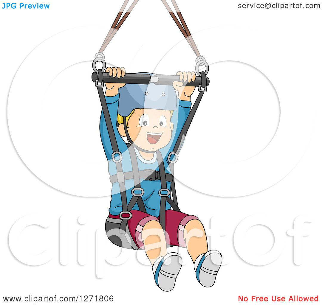 Line Art Zip : Clipart of a happy blond white boy ziplining royalty