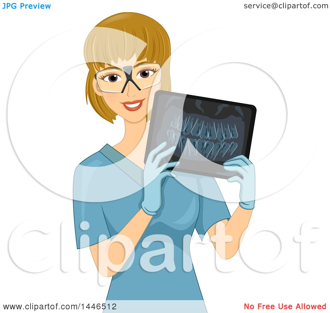 Clipart of a Happy Blond White Female Radiology Technician ...