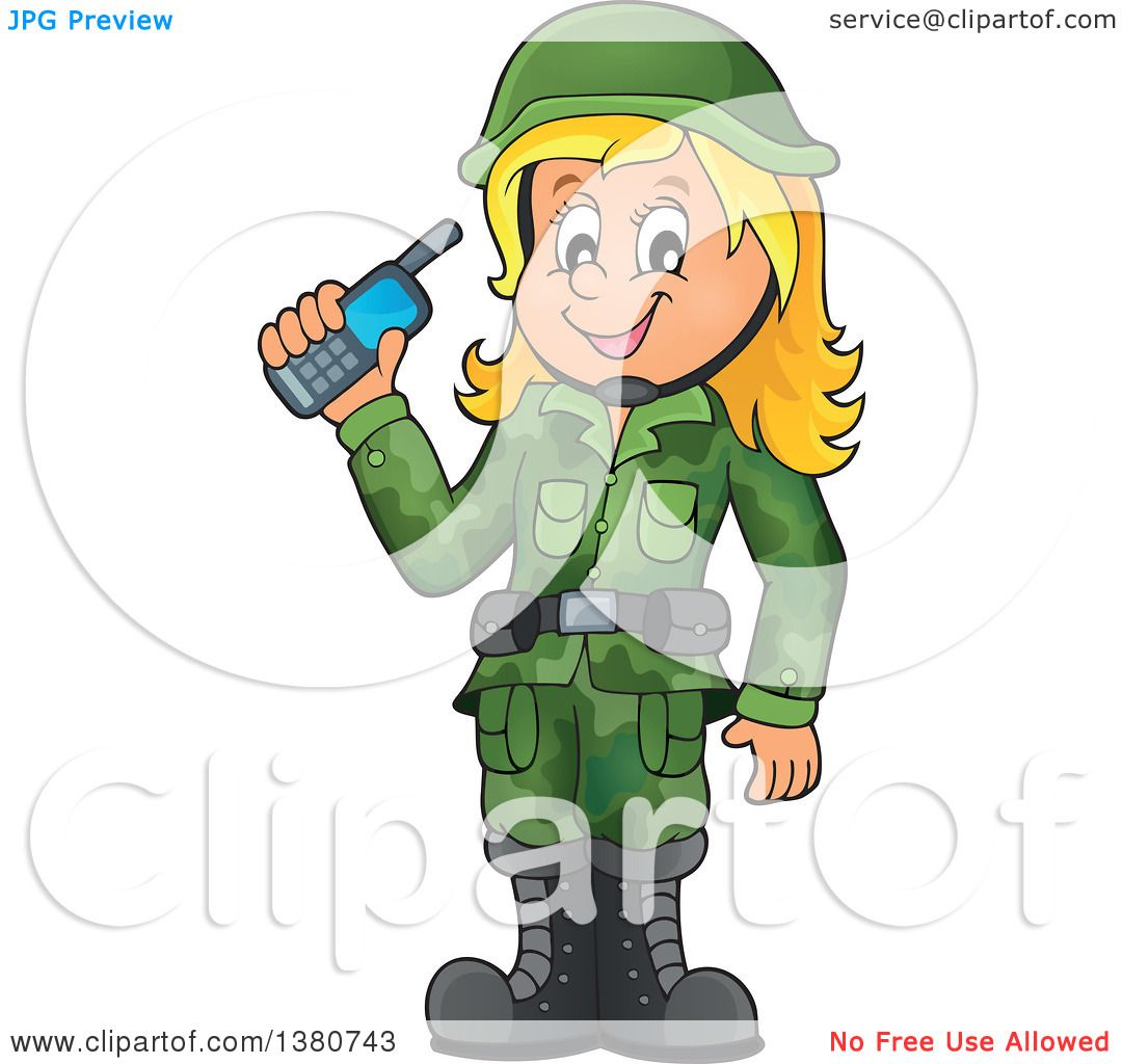Clipart Of A Happy Blond White Female Soldier Holding A