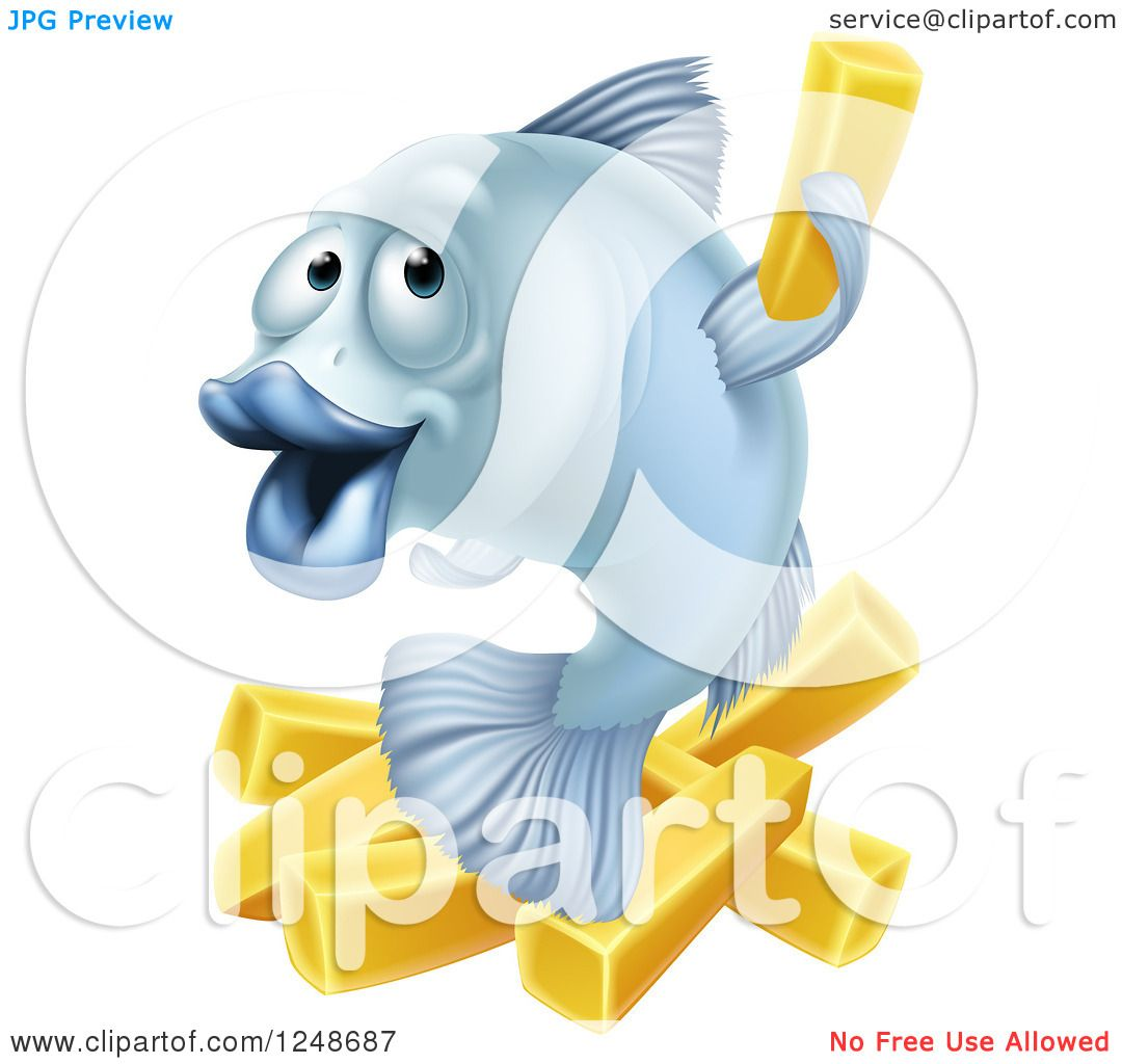 Clipart of a Happy Blue Cod Fish and Chips Fries - Royalty Free ...