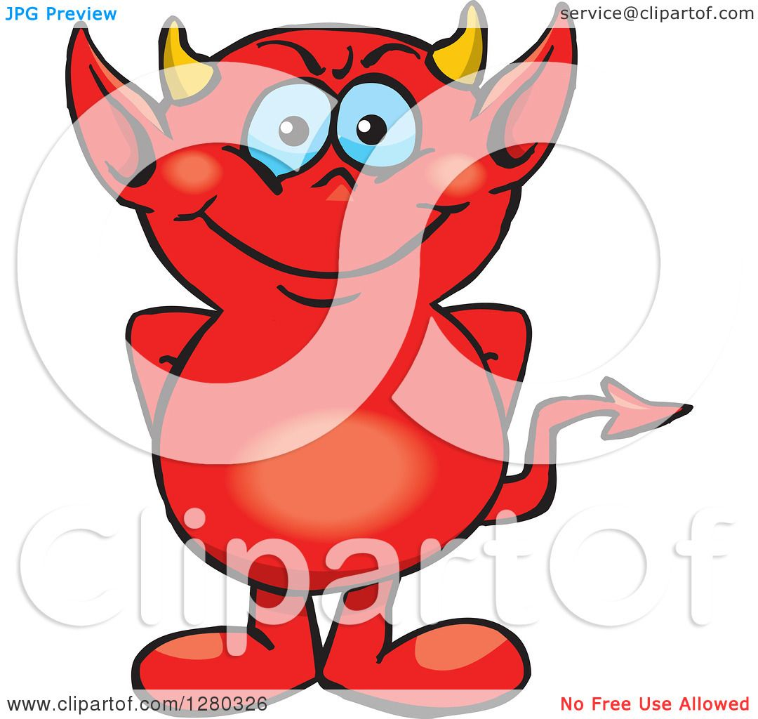 Clipart of a Happy Blue Eyed Red Devil - Royalty Free Vector ...