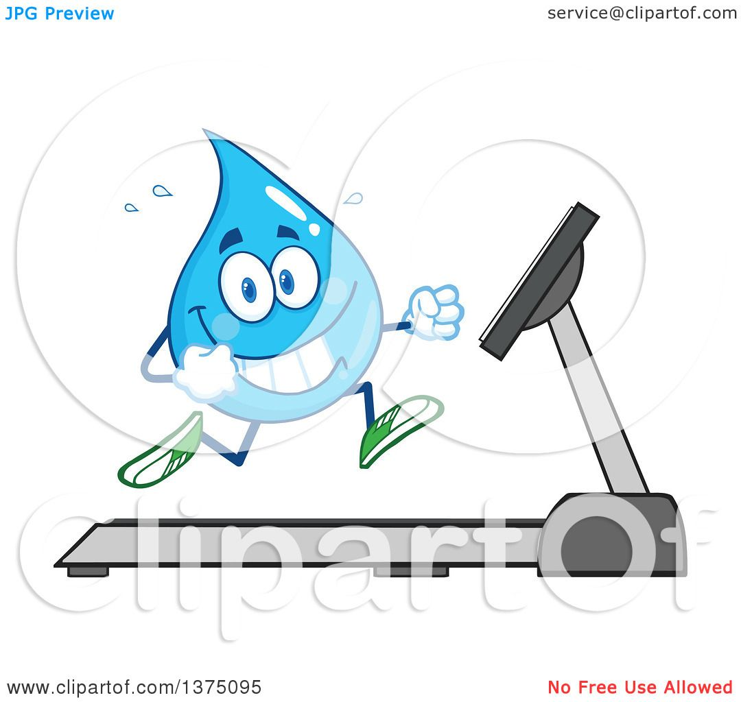Clipart of a Happy Blue Water Drop Character Running on a ...