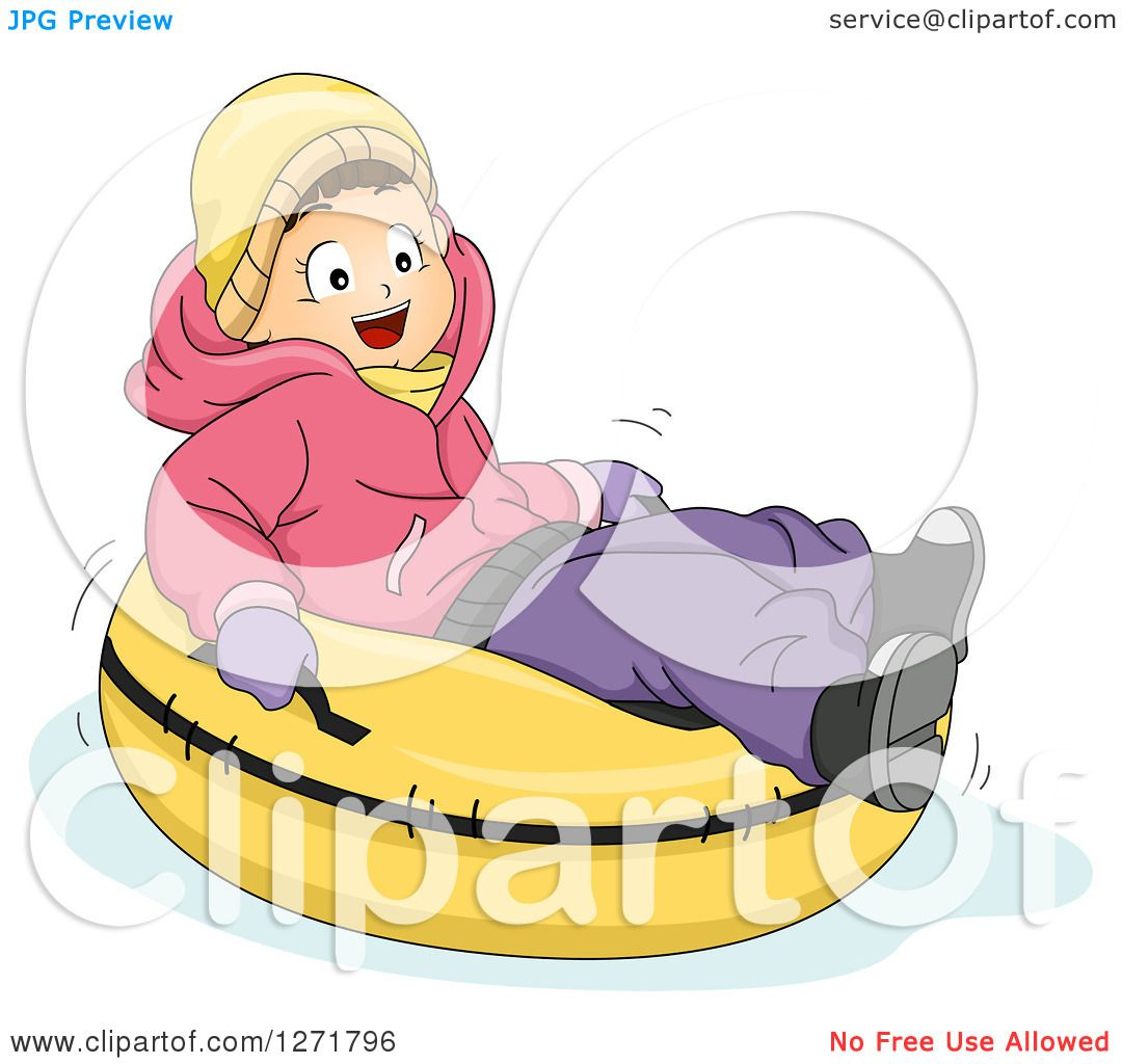 Clipart of a Happy Brunette Caucasian Girl Snow Tubing - Royalty ...