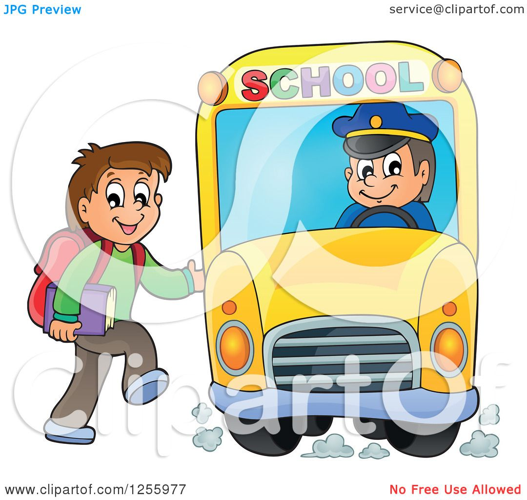 Clipart of a happy brunette white boy loading a school bus clipart of a happy brunette white boy loading a school bus royalty free vector illustration by visekart voltagebd Choice Image