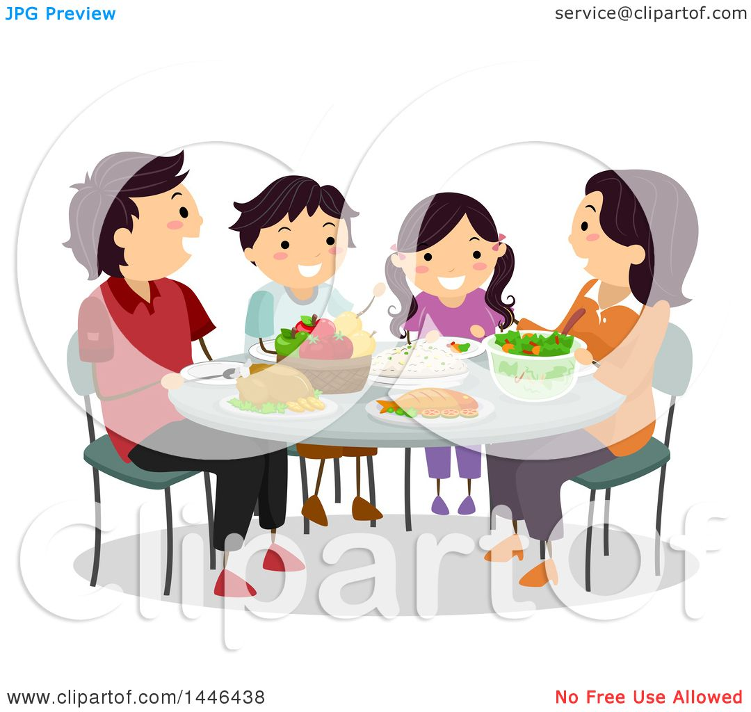 Clipart Of A Happy Brunette White Family Eating Dinner Together
