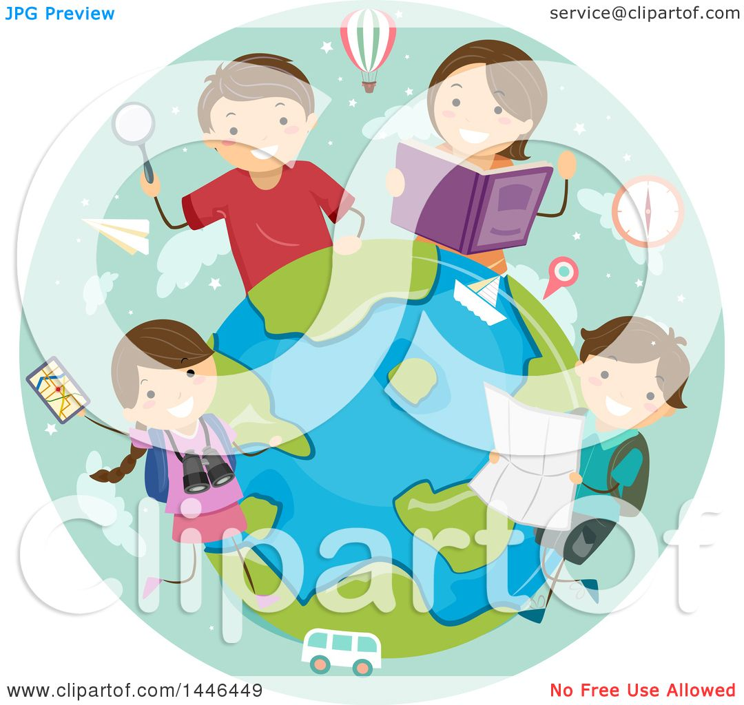 Clipart Of A Happy Brunette White Family Learning About World Travel