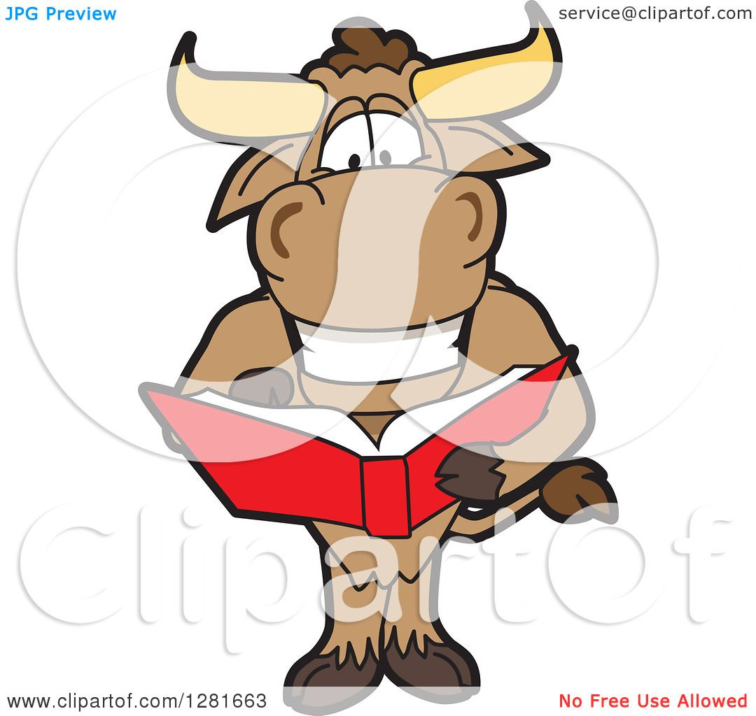 clipart of a happy bull school mascot character standing and reading rh clipartof com Bull Outline Bull Outline