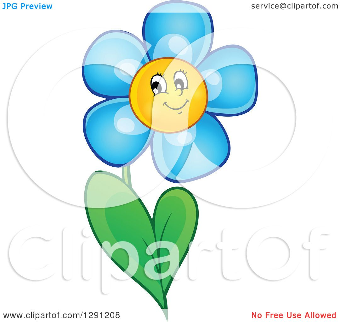 Clipart Of A Happy Cartoon Blue Daisy Flower Character Royalty