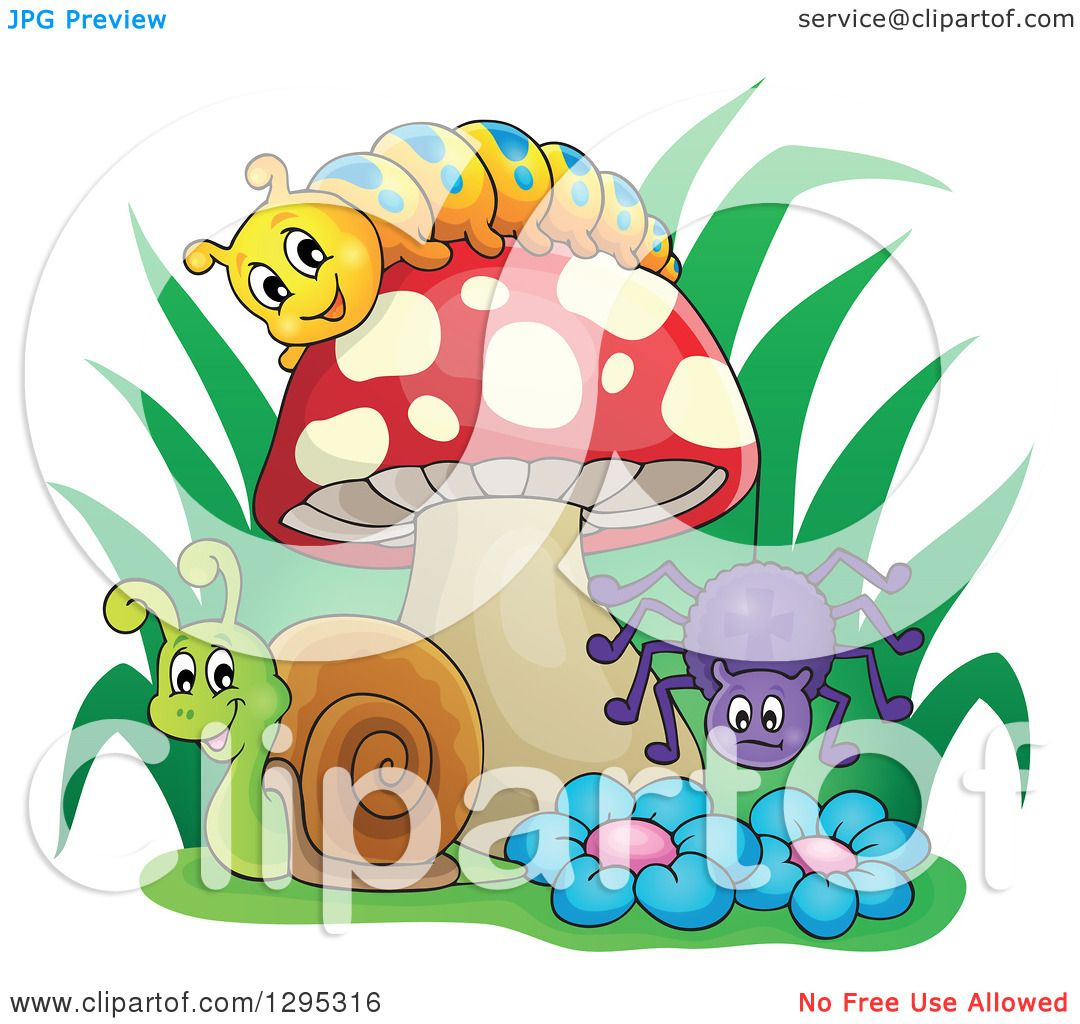 Clipart Of A Happy Cartoon Caterpillar Snail And Spider By A