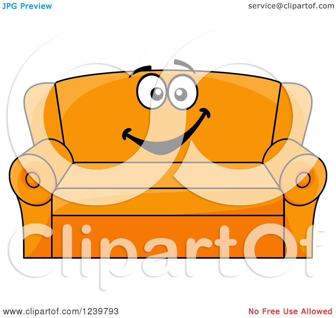 Clipart Of A Happy Cartoon Couch