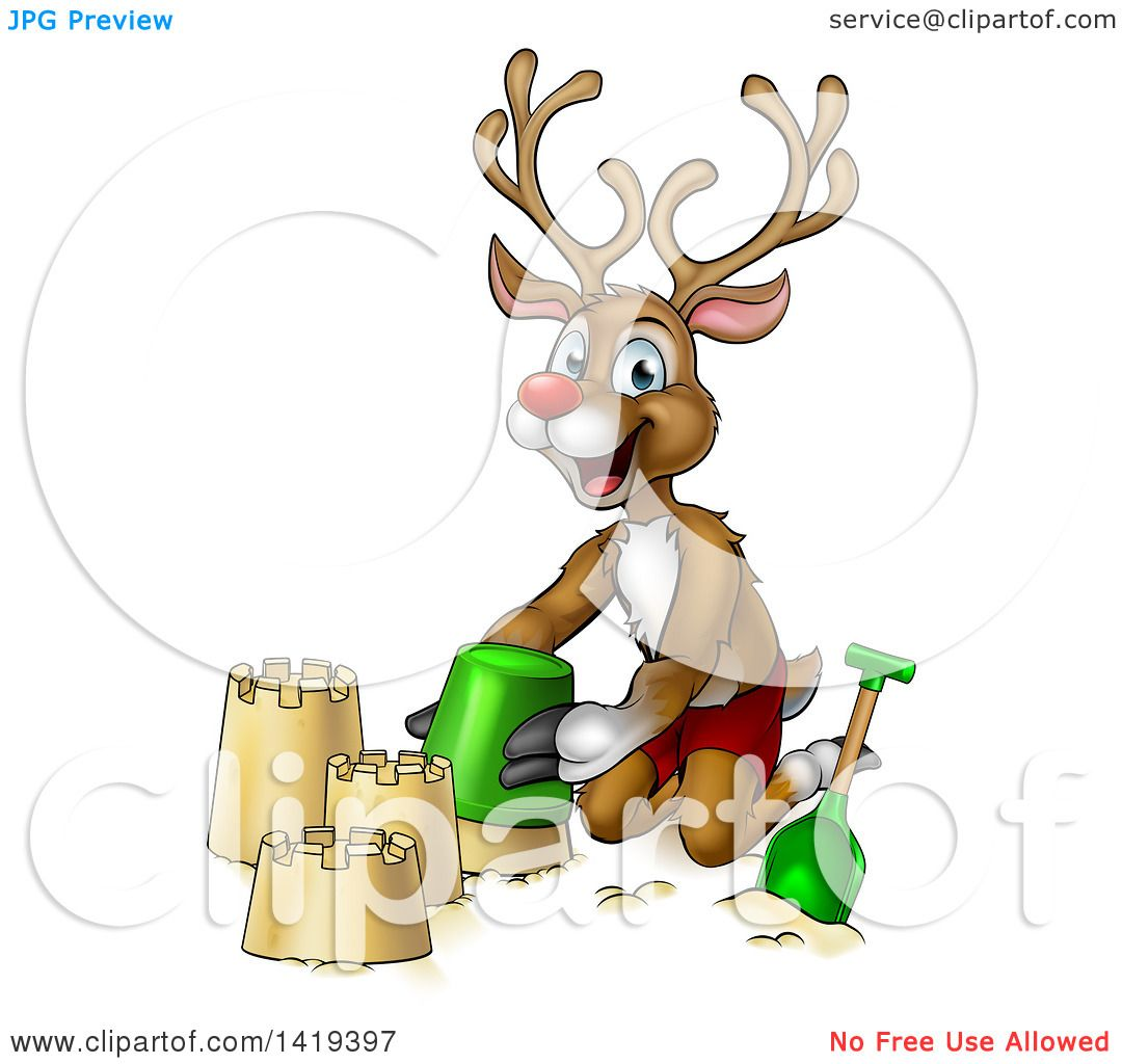 clipart of a happy cartoon rudolph red nosed reindeer making a