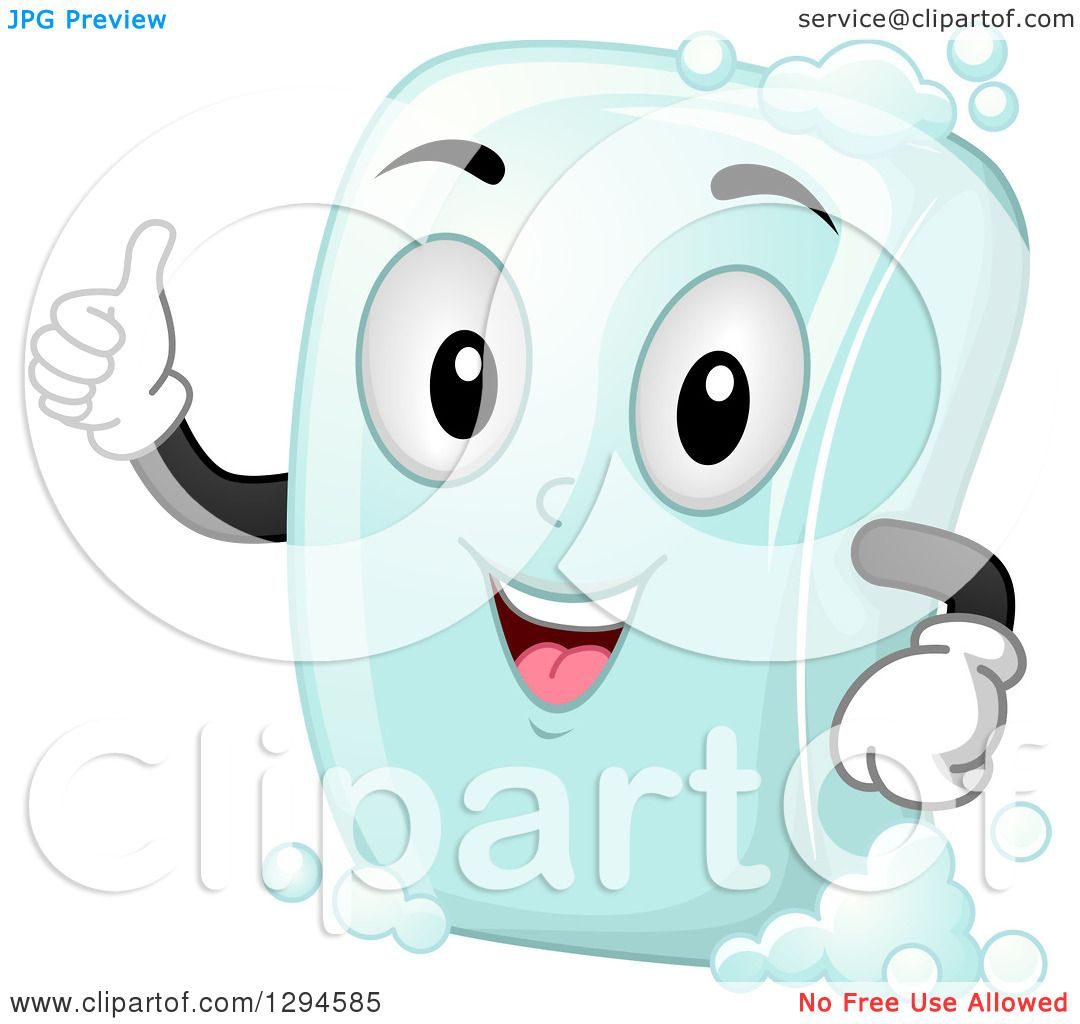Clipart of a Happy Cartoon Soap Bar Character Giving a Thumb up ...