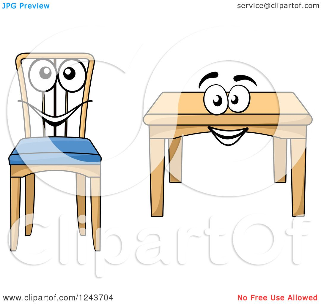 Free Tables And Chairs: Clipart Of A Happy Cartoon Table And Chair