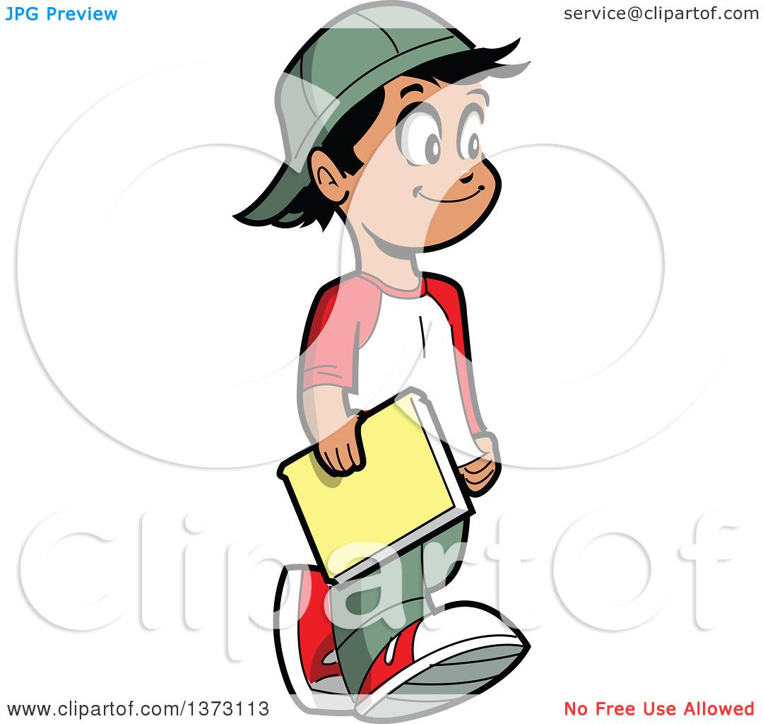 Clipart Of A Happy Casual Hispanic Boy Walking And Carrying a Book ...