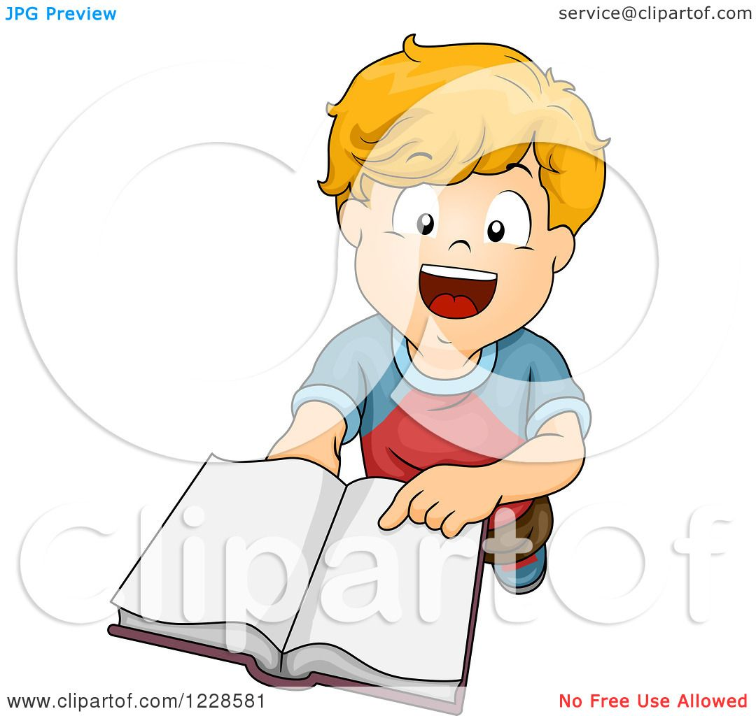 Clipart Of A Happy Caucasian Boy Holding An Open Book