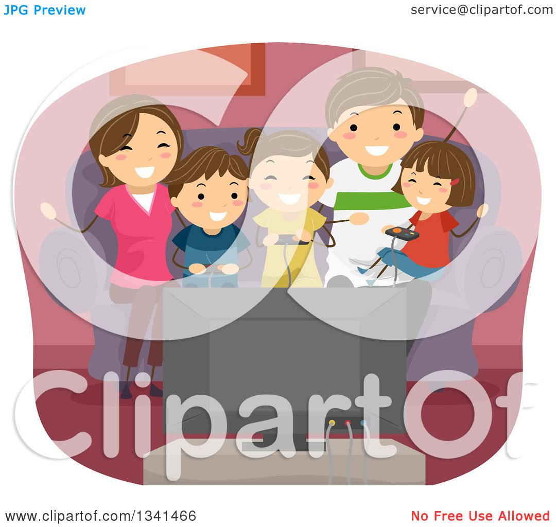 Family Playing Together Clipart Clipart of a Ha...