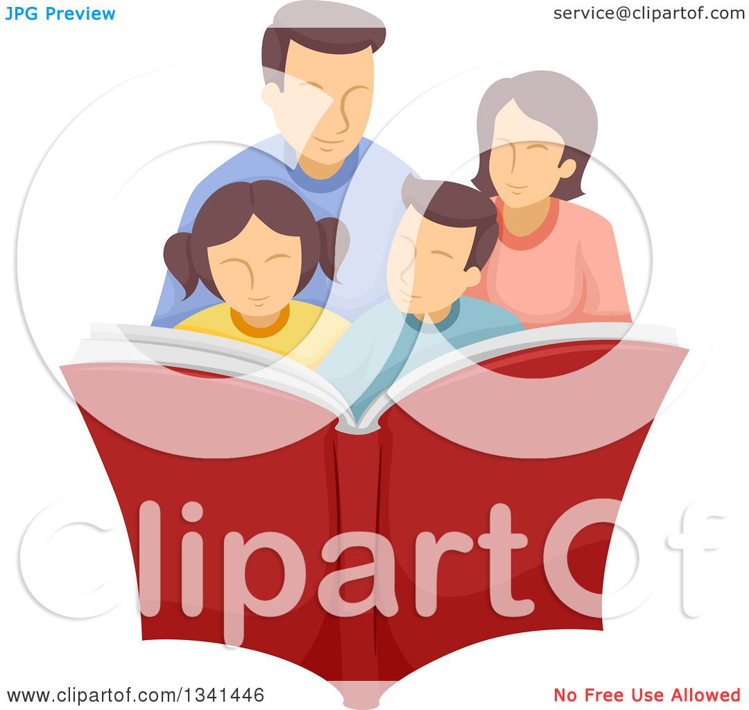 Clipart Of A Happy Caucasian Family Reading Book Together Royalty Free Vector Illustration