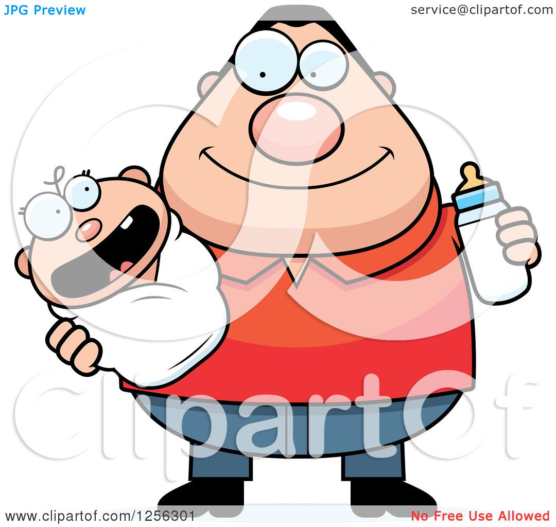 Clipart of a Happy Caucasian Father Holding a Baby and ...