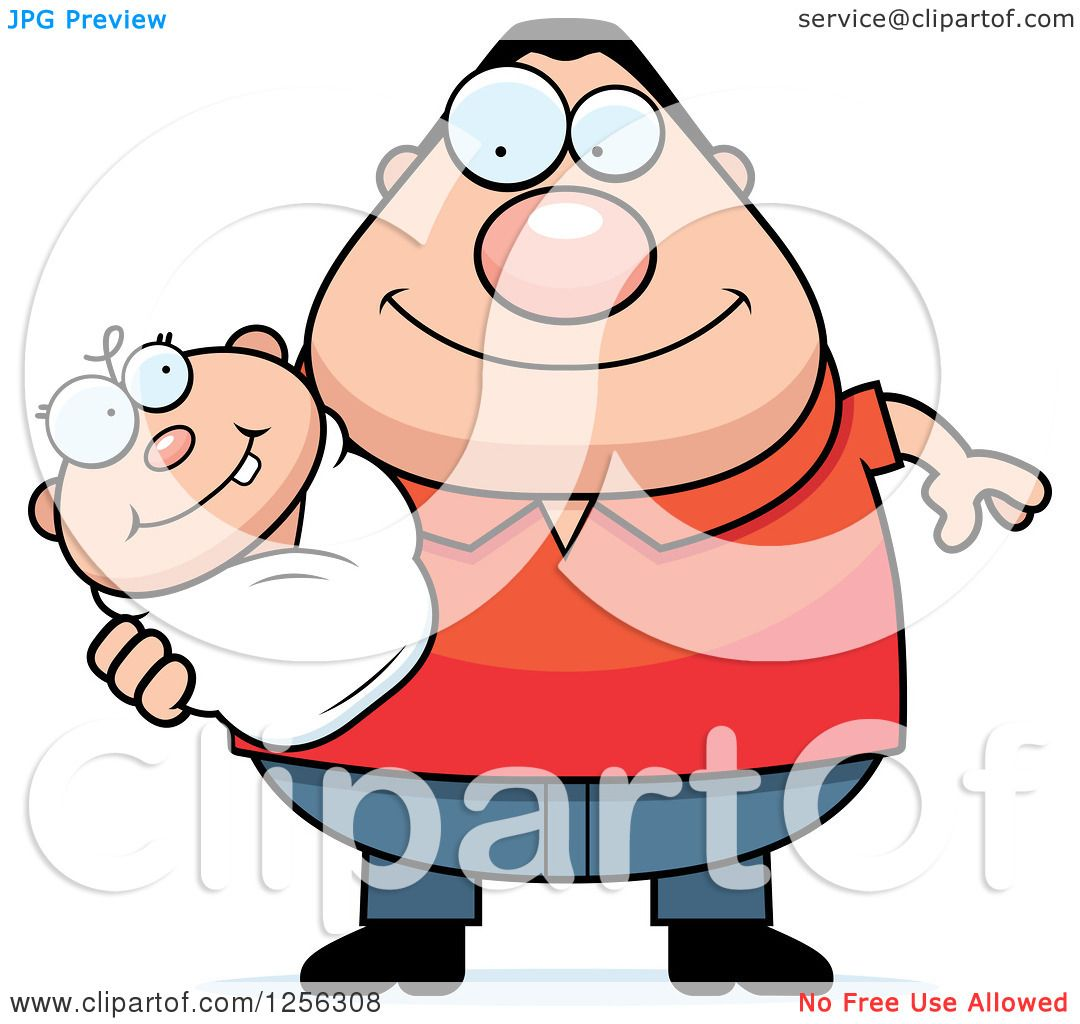 Clipart of a Happy Caucasian Father Holding a Baby ...