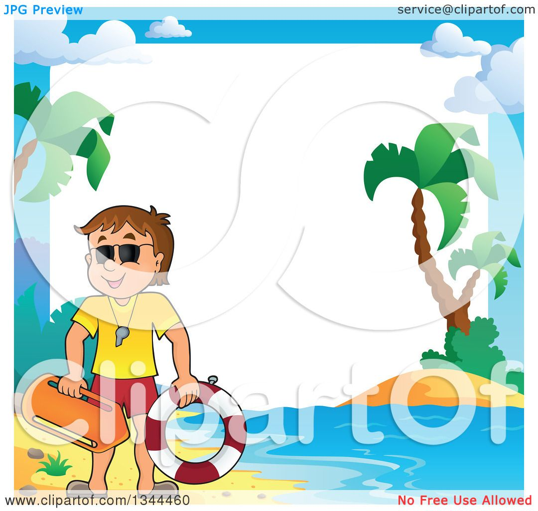Clipart Of A Happy Caucasian Male Life Guard On Beach Over Border