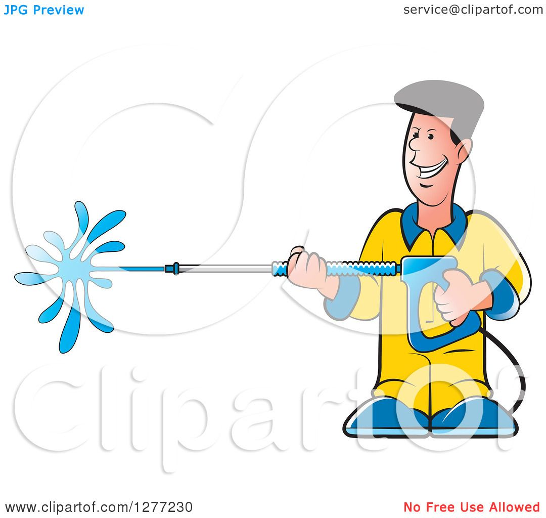 Clipart Of A Happy Caucasian Man Operating A Power Washer