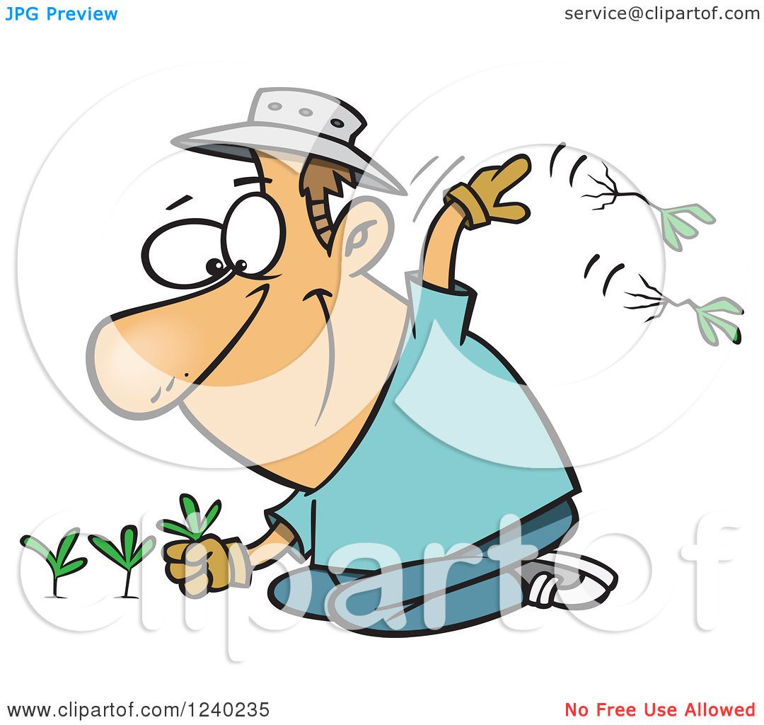 Clipart of a Happy Caucasian Man Pulling Weeds - Royalty ...