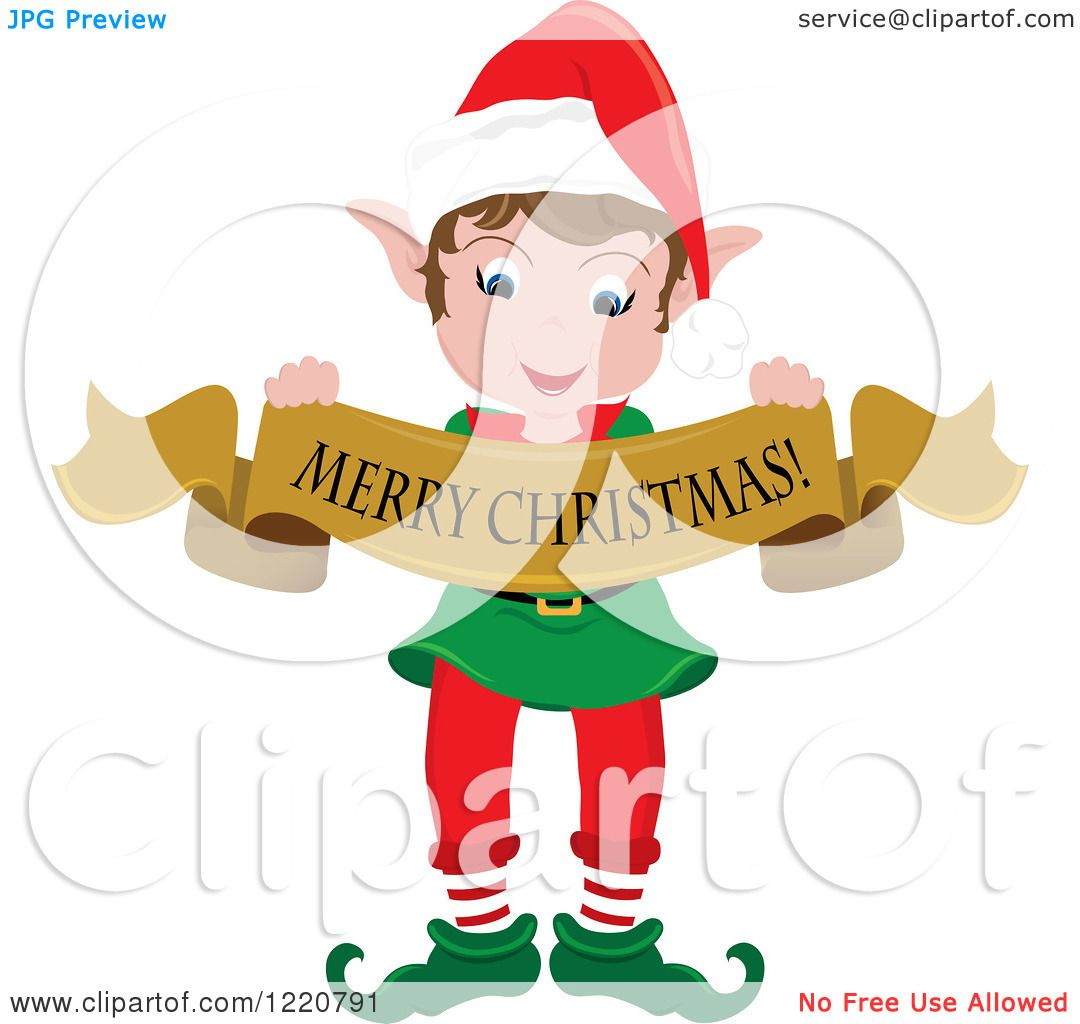 Clipart Of A Happy Christmas Elf With Merry Banner