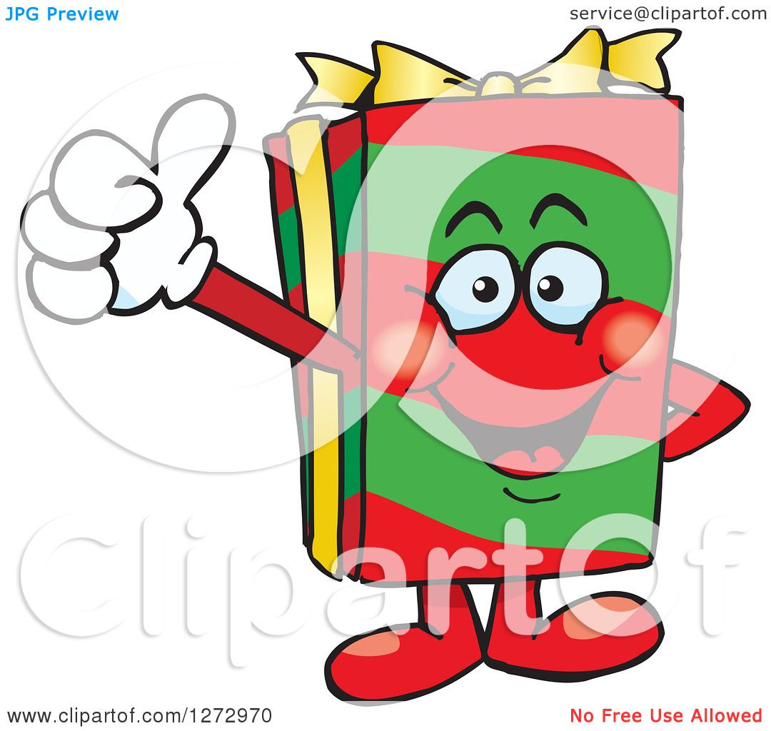 Christmas Giving Clipart.Clipart Of A Happy Christmas Gift Character Giving A Thumb