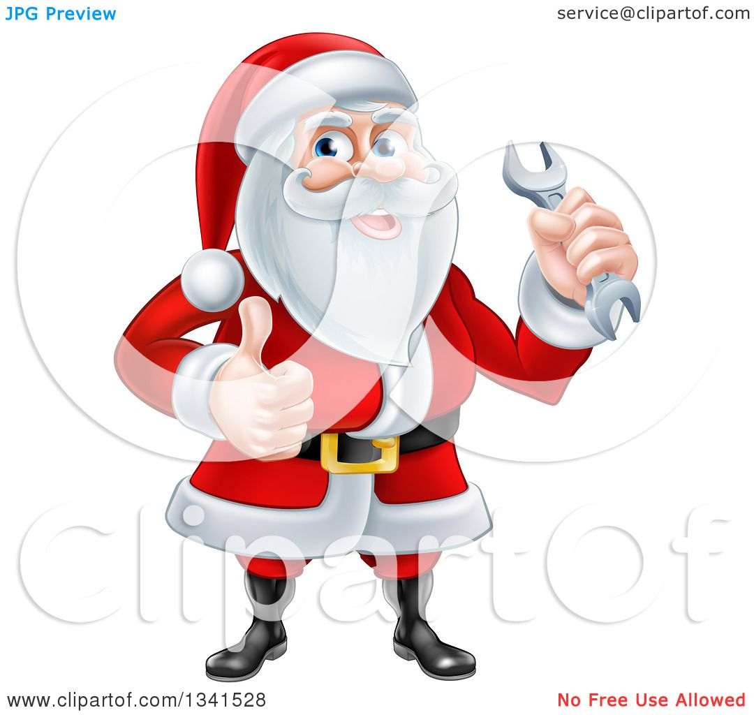 Clipart of a Happy Christmas Santa Claus Holding a Wrench ...