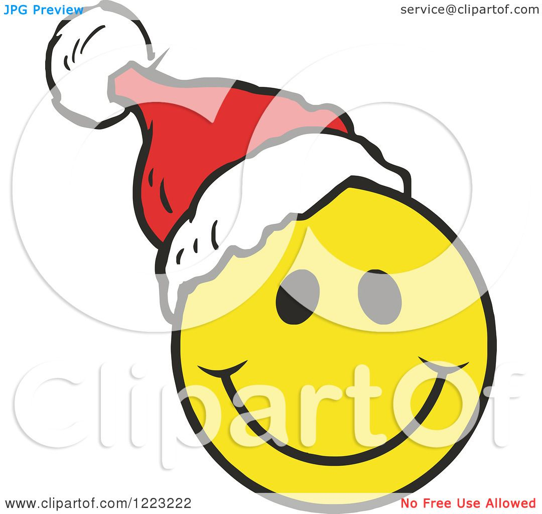 clipart of a happy christmas smiley face wearing a santa hat rh clipartof com Animated Christmas Smiley Face Clip Art Smiley Face with Hat Clip Art
