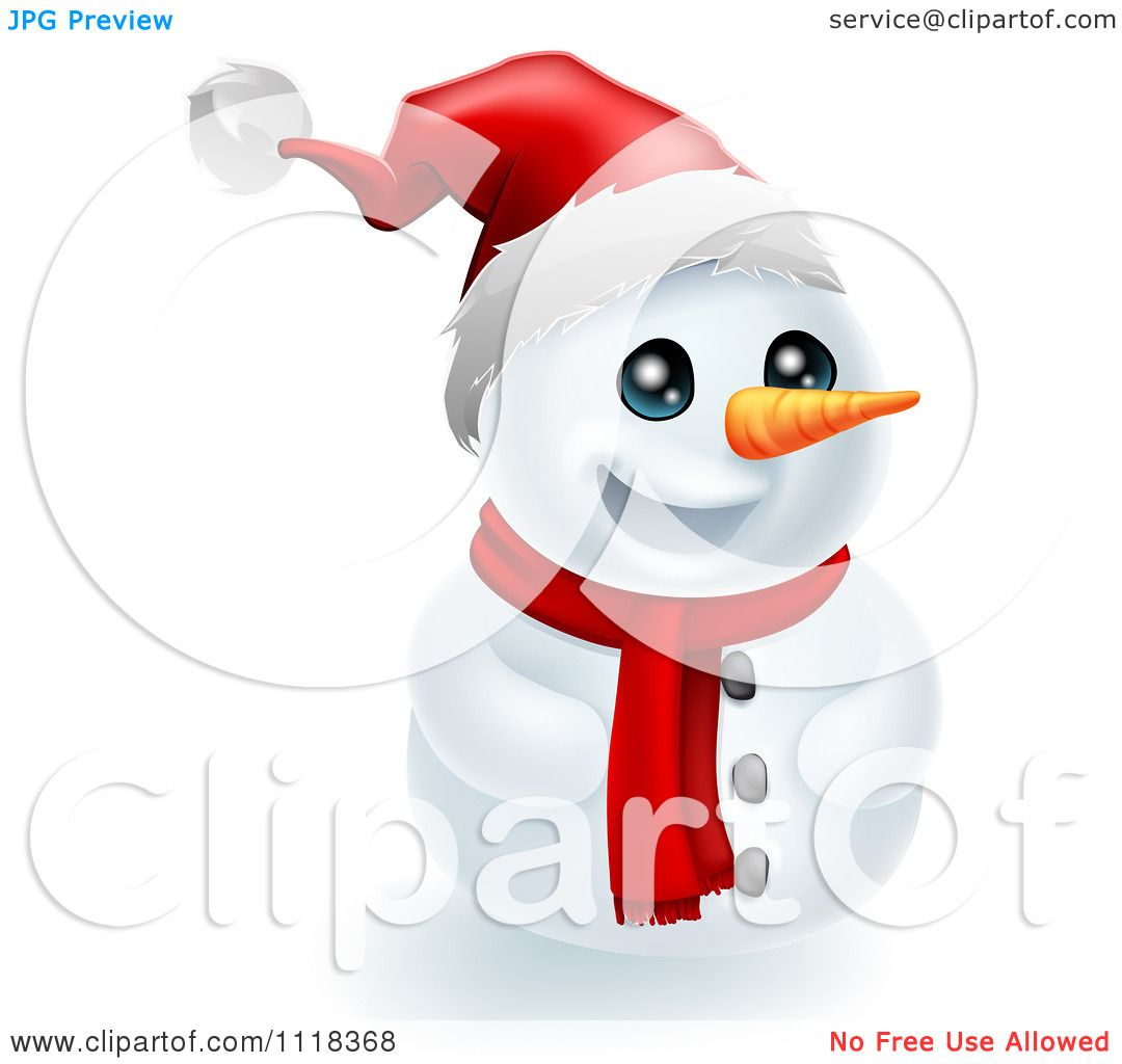 Clipart Of A Happy Christmas Snowman In A Santa Hat