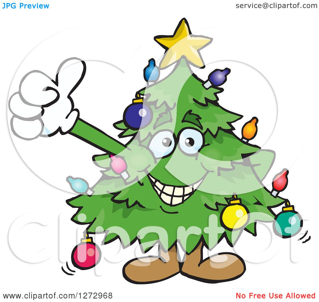 Christmas Giving Clipart.Clipart Of A Happy Christmas Tree Giving A Thumb Up