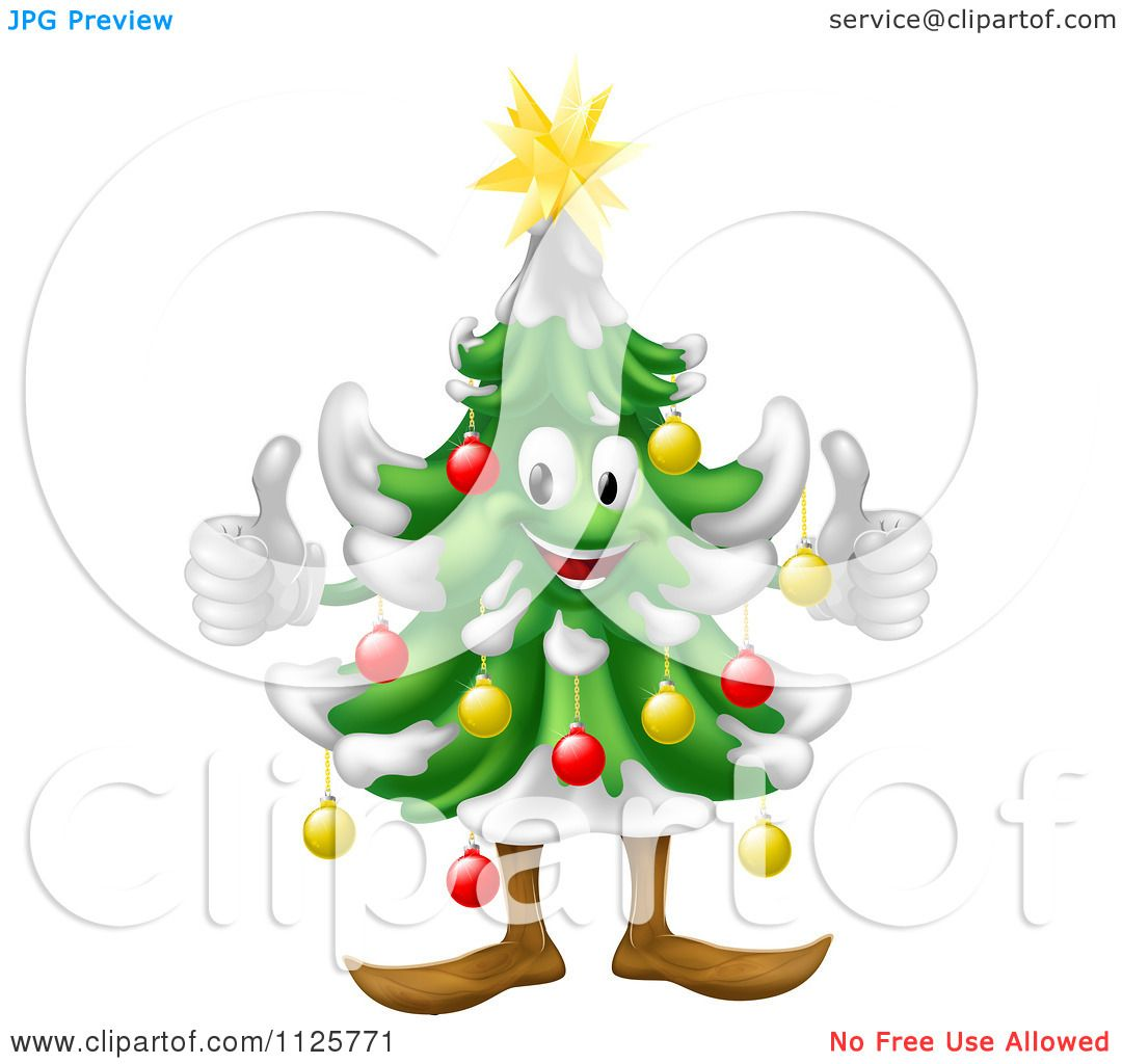 Clipart Of A Happy Christmas Tree Mascot Holding Two ...