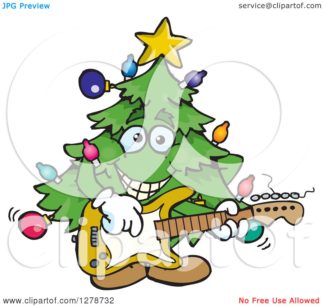 Clipart of a Happy Christmas Tree Playing an Electric Guitar ...
