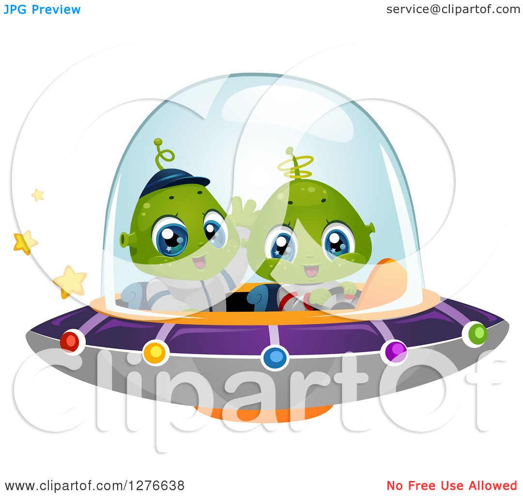 Clipart of a Happy Cute Alien Kids Flying a UFO Royalty Free
