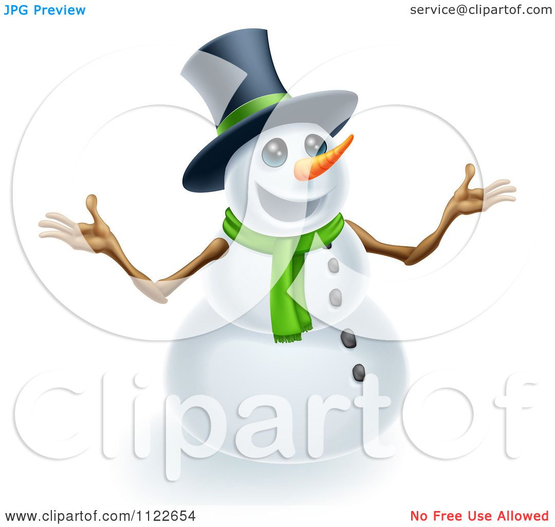 Clipart Of A Happy Cute Snowman Wearing A Top Hat And