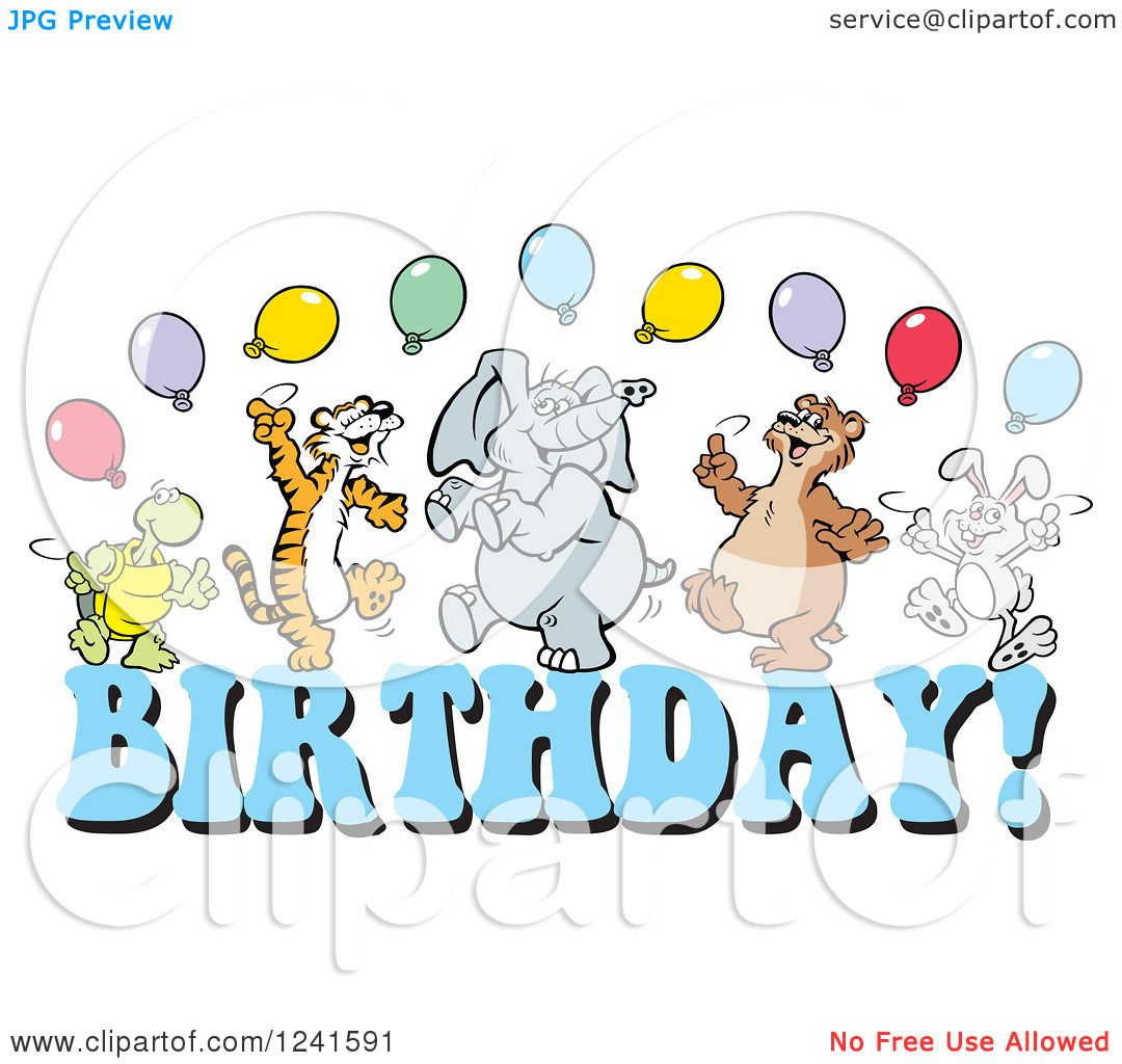Clipart Of A Happy Dancing Tortoise Tiger Elephant Bear
