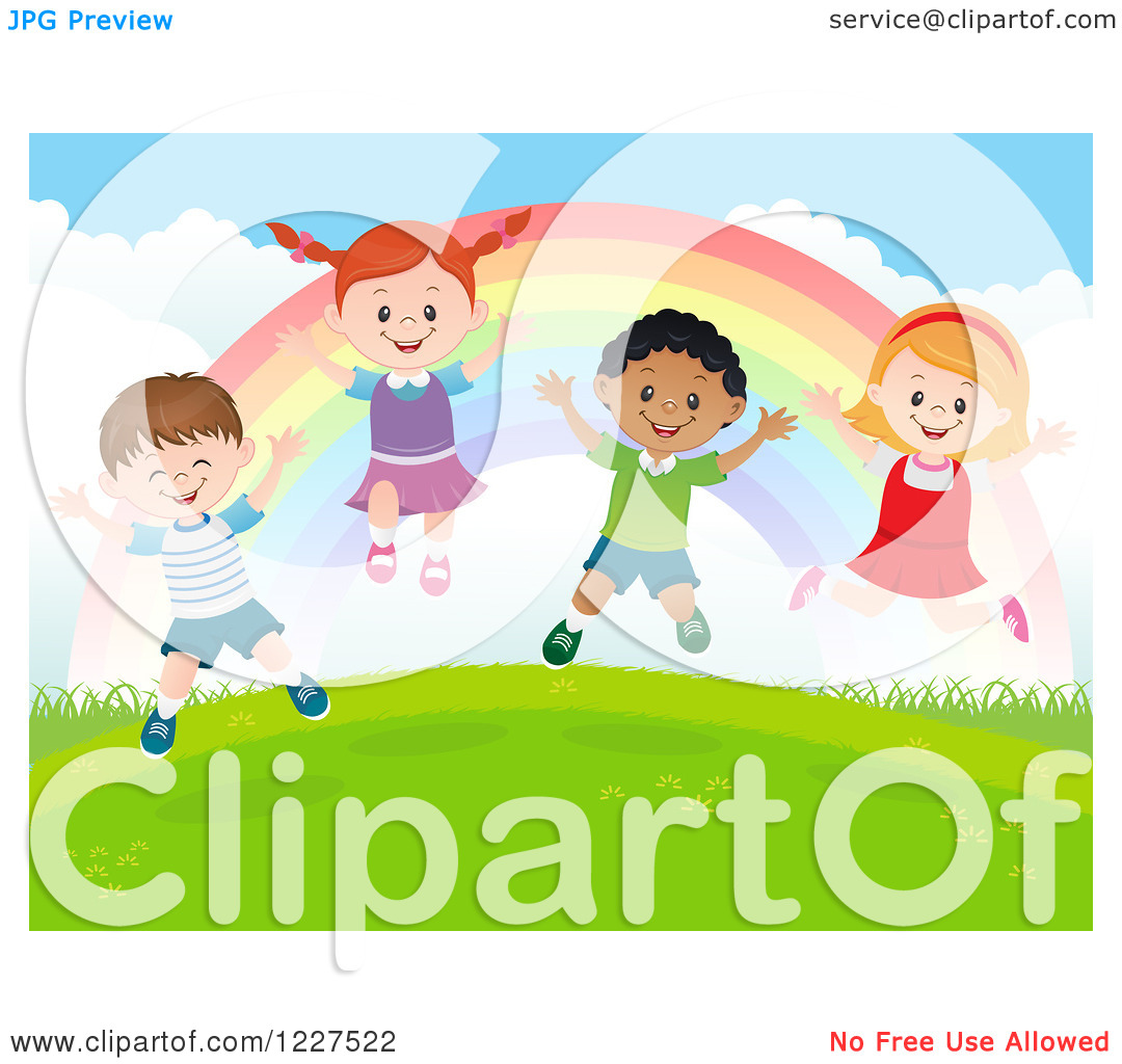 Happy Diverse Children Jumping Under A Rainbow On A Hill 1227522
