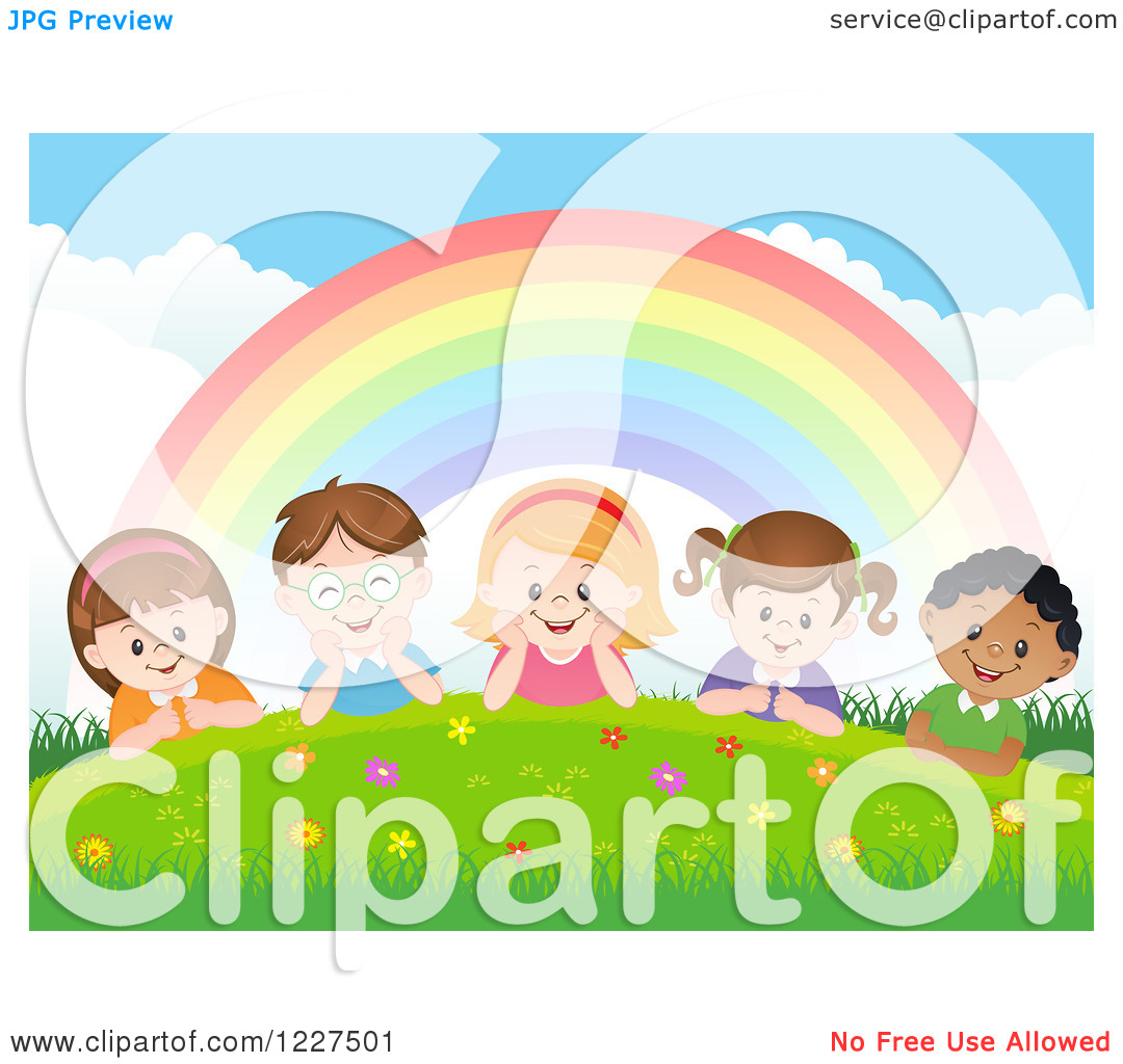 Happy Diverse Children Laying Under A Rainbow On A Hill 1227501