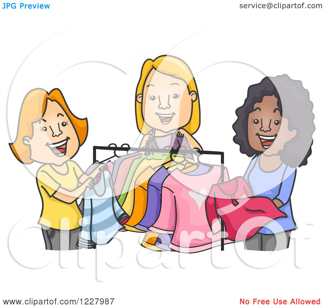 Clipart of a Happy Diverse Women Clothes Shopping or ...