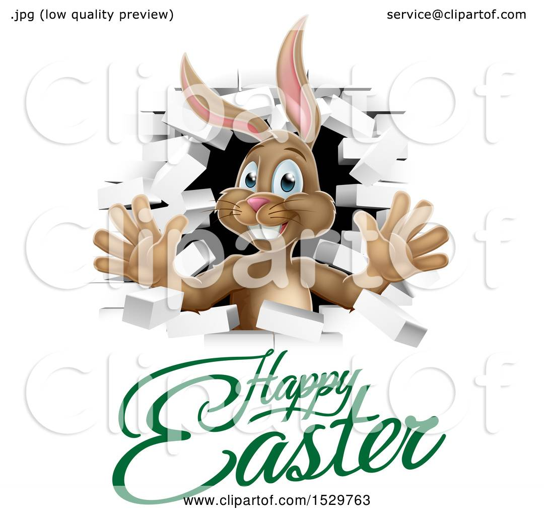 clipart of a happy easter greeting under a white bunny rabbit rh clipartof com Vintage Brick Wall Clip Art Block Wall