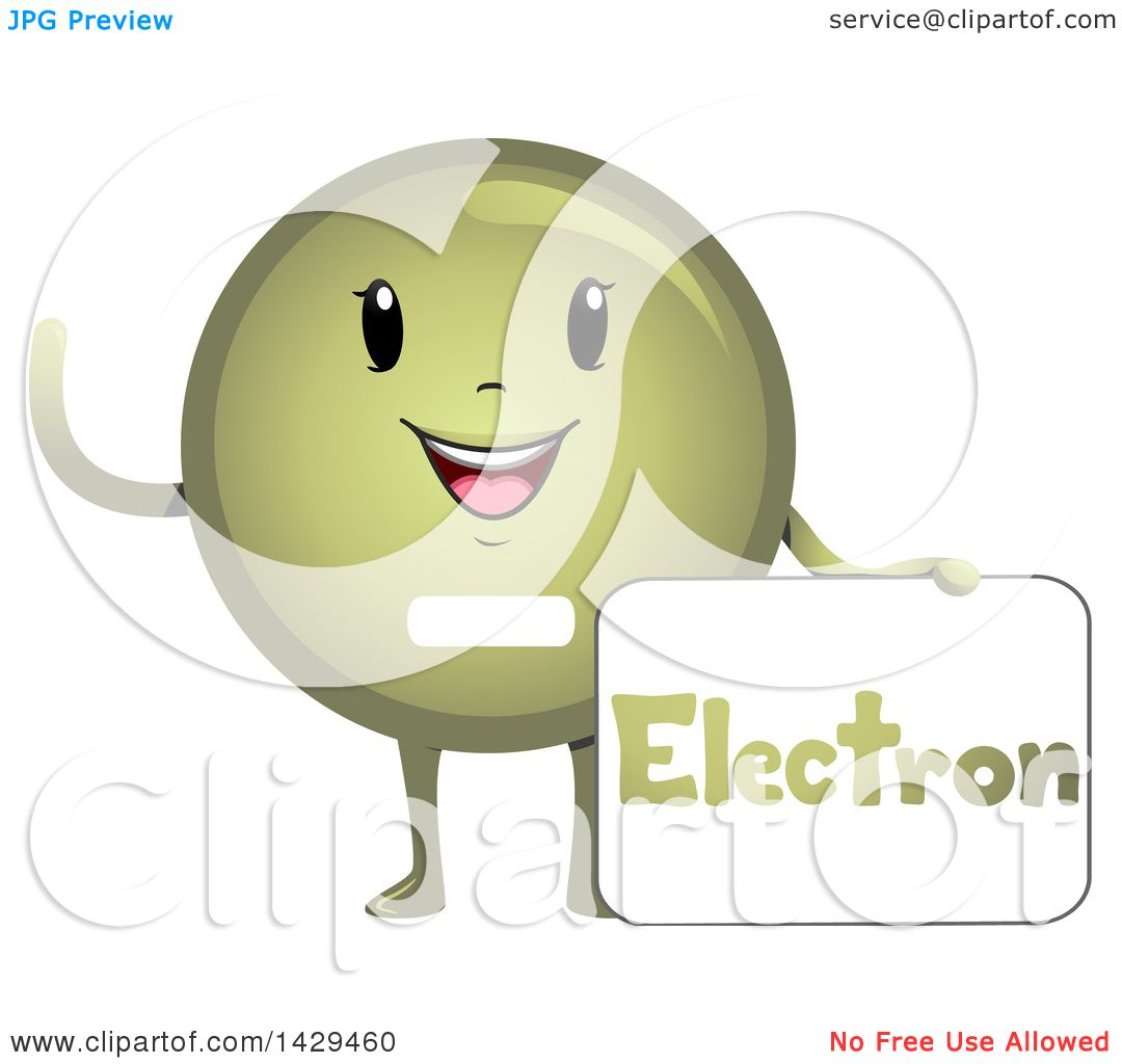 Clipart Of A Happy Electron Atomic Particle Mascot