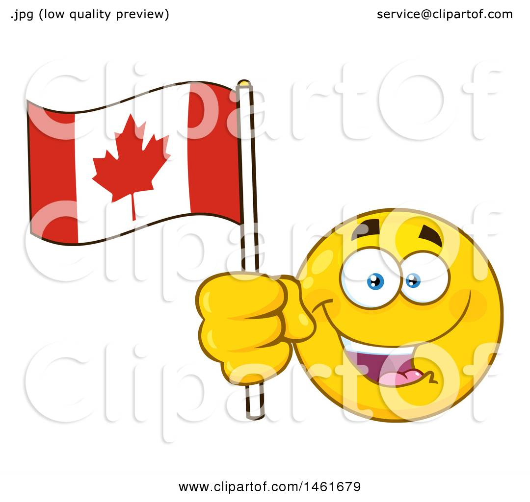 clipart of a happy emoji emoticon holding a canadian flag