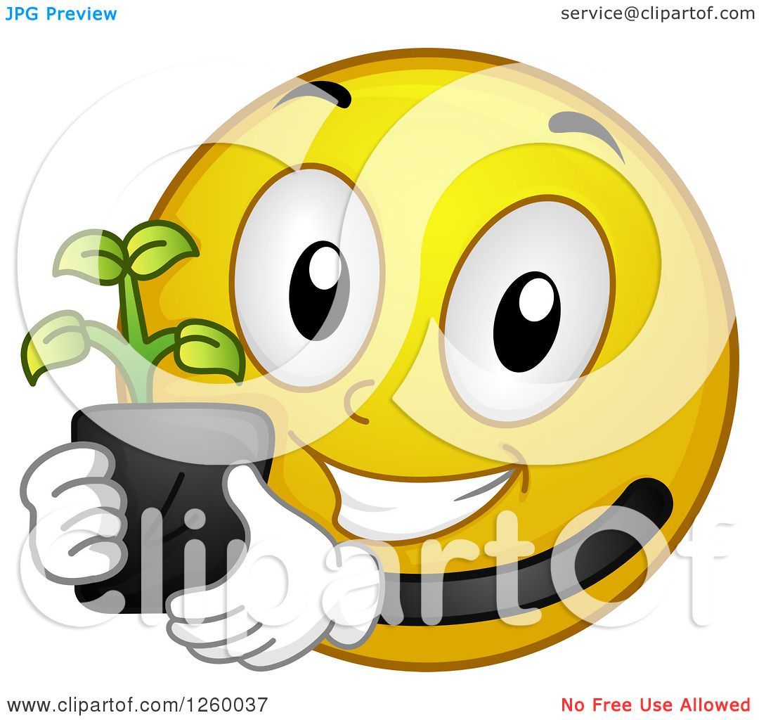 Clipart of a Happy Emoticon Holding a Seedling Plant Royalty Free Vector Il